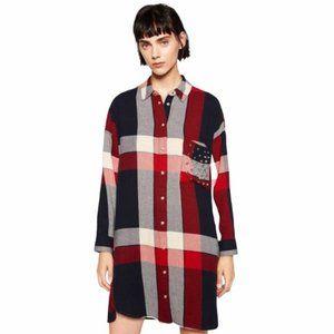 Zara Stud Pocket Flannel Tunic Dress Button Down M